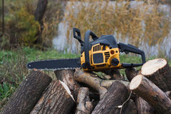 Chainsaw over a heap of logs Stock Image