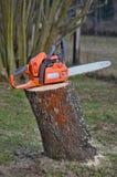 Chainsaw på en stubbe Royaltyfri Foto
