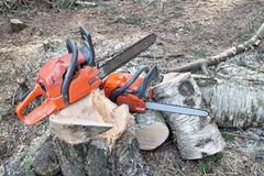 Chainsaw ready to work Royalty Free Stock Image