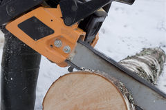 Chainsaw sawing logs birch Stock Photos