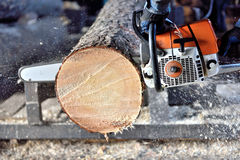 Chainsaw sawing wood Royalty Free Stock Photos