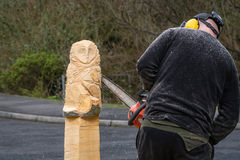 Chainsaw Sculptor at work Stock Image