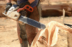 Chainsaw Sculpture. Artist working during a chainsaw sculpture contest on the Oregon Coast royalty free stock photos