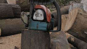 Chainsaw stands among sawn logs. slow motion stock video