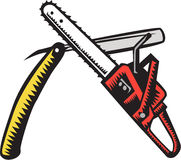 Chainsaw Straight Razor Crossed Woodcut Royalty Free Stock Images