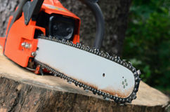 Chainsaw on the stump. Selective focus stock image