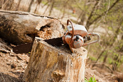 Chainsaw in Tree Stump. Old worn chainsaw stuck in a tree stump stock images