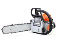 Chainsaw on white Stock Images