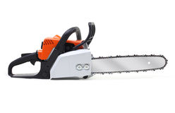 Chainsaw on white Royalty Free Stock Photography