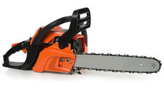 Chainsaw on a white background stock photo