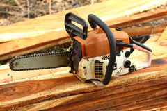 Chainsaw on the woods, Stock Image