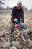 Chainsaw working Stock Image