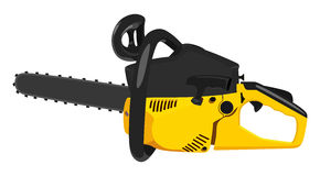 Chainsaw. Yellow chainsaw on a white background Stock Images