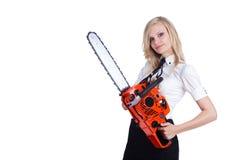 chainsawkvinna Fotografering för Bildbyråer