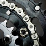 Chainset de vélo avec le réseau photographie stock
