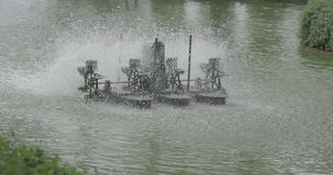 Chaipattana Turbine spinning in the water to add bubbles in water stock video