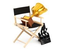 Chair主任,电影拍板和扩音机有金黄战利品的 库存照片