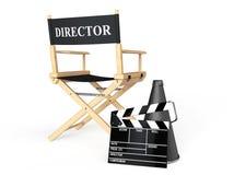 Chair主任,电影拍板和扩音机 免版税库存照片
