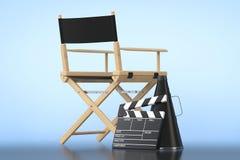 Chair主任,电影拍板和扩音机 库存图片