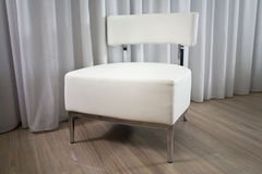 Chair. Modern interior design, white leather chair Stock Images