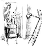 Chair. The black-and-white image became as a model Stock Illustration