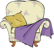 Chair. With a pillow and blanket vector illustration