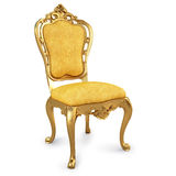 Chair. Golden chair with yellow skin. isolated on white. with clipping path Royalty Free Stock Image