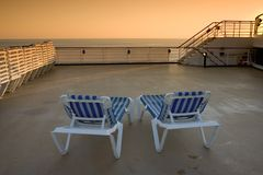 Chair 2. Sun chairs on a cruise ship Royalty Free Stock Images