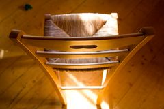 Chair. Wooden chair with sun light Royalty Free Stock Photography