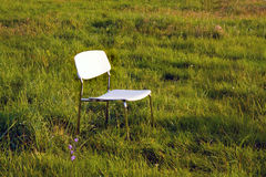 Chair. White chair at the grass stock images