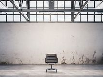 Black chair at an abandoned factory. 3d rendering. Chair at an abandoned factory in the afternoon. 3d rendering royalty free illustration