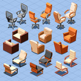Chair and armchair isometric vector set Stock Image