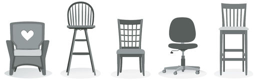 Chair Assortment. An assortment of five kinds of chairs Royalty Free Stock Photo