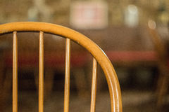 Chair backrest. With blurred background in a restaurant Stock Photography