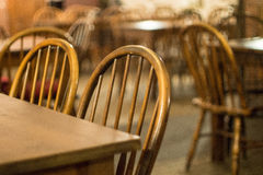 Chair backrest. With blurred background in a restaurant Royalty Free Stock Photography