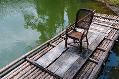 A chair on the bamboo raft in cihu, taiwan Stock Photo