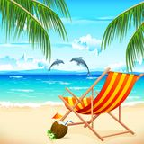 Chair on Beach. Illustration of  chair on beach background with palm tree Royalty Free Stock Images