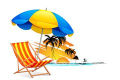 Chair on Beach. Illustration of  chair on beach background with palm tree Stock Photography