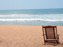 Chair at the beach. (with space for text Stock Images