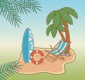 Chair in the beach scene. Vector illustration design royalty free illustration