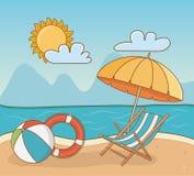 Chair in the beach scene. Vector illustration design stock illustration