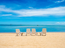 Chair beach in the sea shore on the summer Stock Image