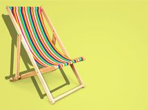 Chair. Beach sun striped red object wooden vector illustration