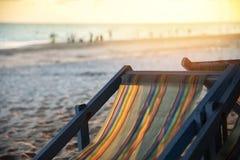 Chair beach with sunset on summer sandy beach sea vacation stock photos