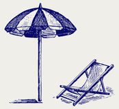 Chair and beach umbrella. Doodle style. Vector Stock Photo