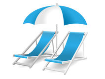 Chair and beach umbrella isolated Royalty Free Stock Photo