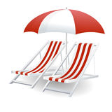 Chair and beach umbrella isolated Stock Photos