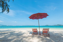 Chair on the beach. White sand beach in sunny day Royalty Free Stock Photo