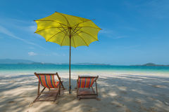 Chair on the beach. White sand beach in sunny day Stock Image