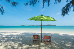 Chair on the beach. White sand beach in sunny day Royalty Free Stock Images